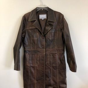 Wilson's Brown Distressed Leather Jacket Maxima
